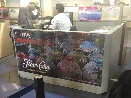 This customs desk sponsored by Flor de Caña