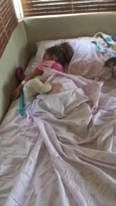 "Azalea asleep in her ""Princess bed"""