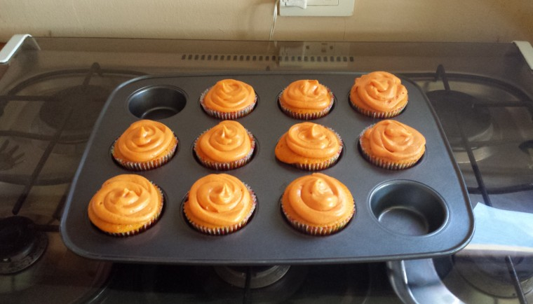 All frosted with orange colored frosting