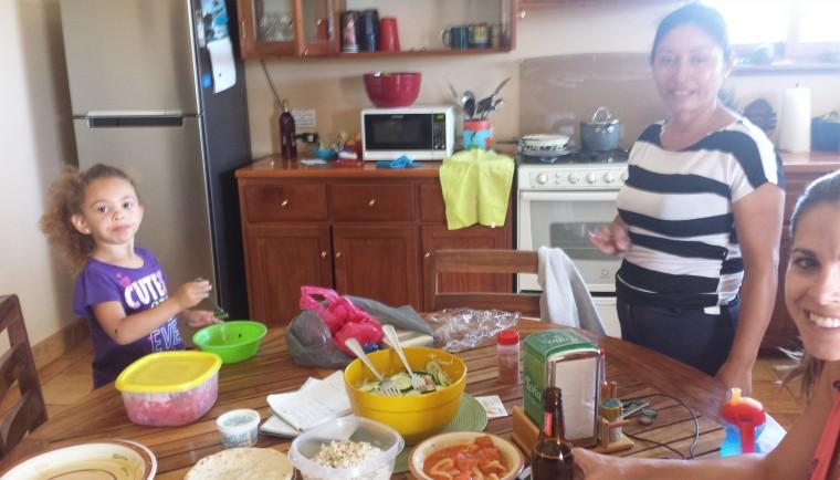 Juanita serving us a local dish, arroz aguado.