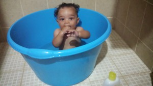 Titus in his little tub