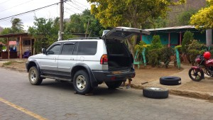 SUV getting tires put on