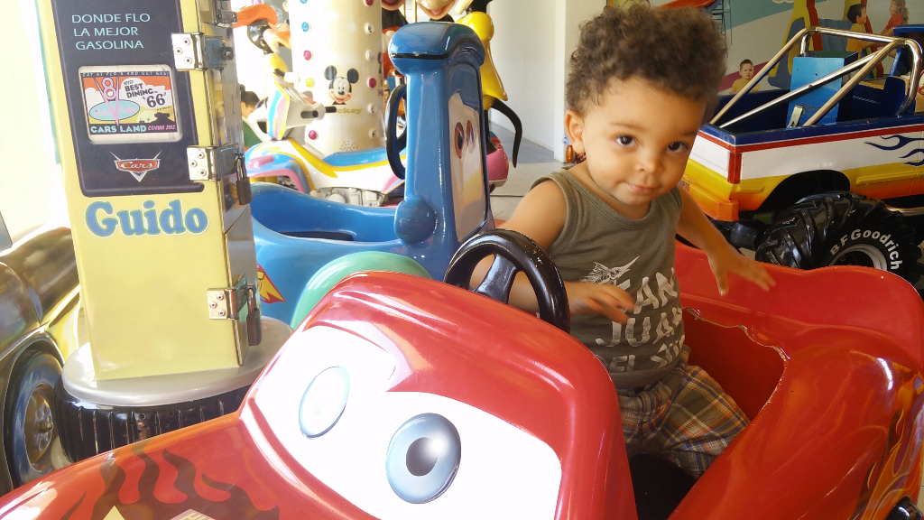 "I think its time to introduce him to the movie ""Cars"". He loved this ride at the mall in Managua. Even after vaccine shots!"