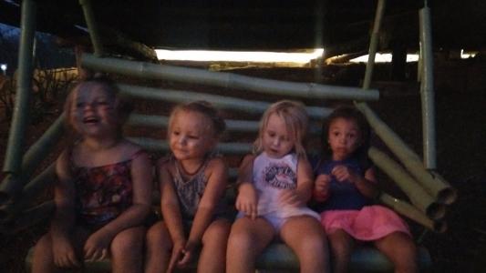 4 cuties on a bamboo swing at Eden on the Chocolata