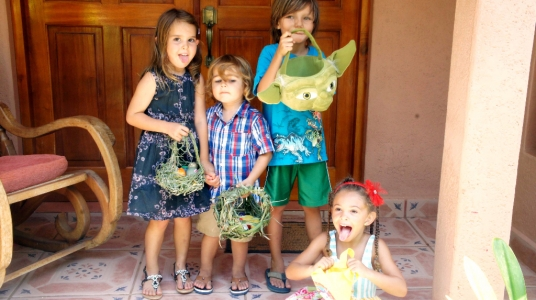 Kids are ready for the Easter egg hunt