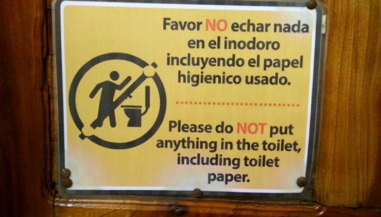 Usual sign hung in the bathroom at restaurants