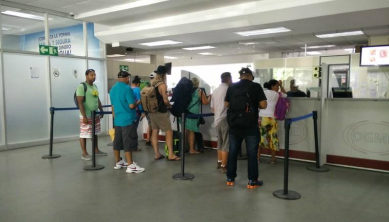 Kharron in line at Costa Rica's customs