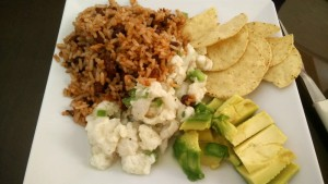 Ceviche with Gallo Pinto and Avocado