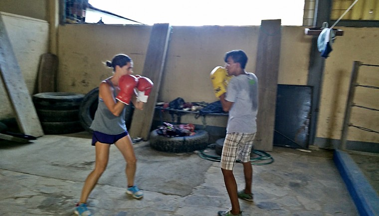 Boxing with a boy