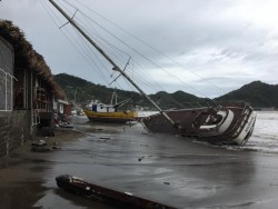 Boats washed up from the hurricane